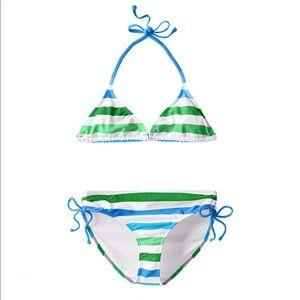 KANU SURF Big Girl's Striped 2-piece Bikini